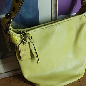 Authentic COACH Bucket Bag,Chartreuse/yellow